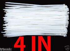 200PCS 4IN/10CM ZIP TIES NYLON WHITE 40 LBS UV WEATHER RESISTANT WIRE CABLE