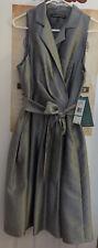 Brand New Jones Wear Women's Silver Silk Look Sleeveless Dress Size 16 NWT $90