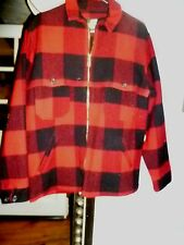 Woolrich Classic Zippered Hunting  Jacket, Red & Black Checked, Made in U.S.A.
