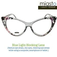 MIASTO BIG CAT EYE COMPUTER READER READING GLASSES +3.25 FLORAL~ ANTI-BLUE LIGHT