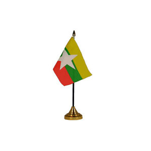 Myanmar (Burma New) Table Desk Flag - 10 x 15 cm National Country Hand Asia