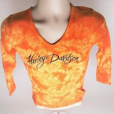 HARLEY DAVIDSON TIE DYE WOMEN'S SMALL 3/4 SLEEVE BLOUSE GENTLY USED S
