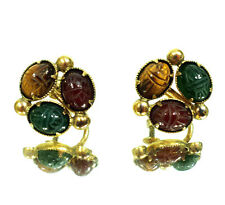 Vintage Bal Ron 1/20 12k Gold Filled 3 Stone Scarab Screw Clip On Earrings 4.5g