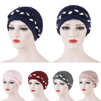 Muslim Women Braid Turban Chemo Cap Beads Beanie Scarf Headscarf Wrap Bonnet Hat