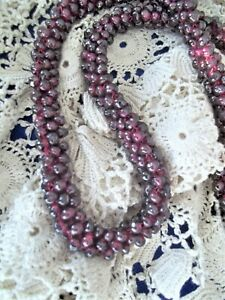 Vtg Garnet Pyrope Cluster  Rope Necklace Pomegranate Seed Style HEALING Jewelry