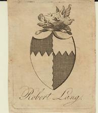 EX-LIBRIS héraldique Robert LANG - XIXème siècle.