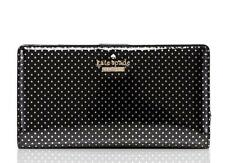 KATE SPADE LILAC STREET Dot Stacy Black Leather Clutch Bifold Slim Wallet NWT