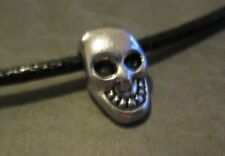 Black Waxed Cotton Cord Goth Bracelet with Skull Bead