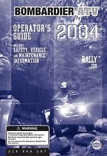 Bombardier Rally 200, Quad ATV, 2004 Owners Manual Bound Book Free Shipping