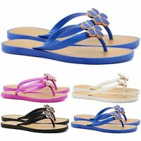 New Ladies Summer Flip Flops Flat Sandals Womens Casual Toe Post Beach Shoes UK