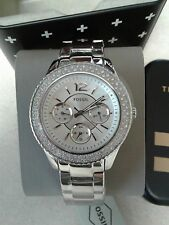 Fossil Women Stella Crystal Multi function Stainless 38mm Watch NWT