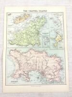 1889 Antique Map of The Channel Islands Jersey Guernsey 19th Century Original