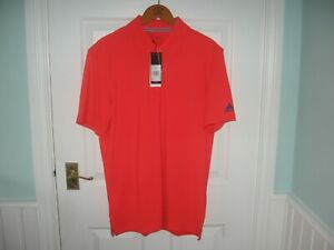 BNWT MENS ADIDAS ULTIMATE 365 SOLID GOLF POLO SHIRT MED SHOCK RED