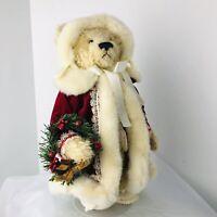 """Franklin Mint Heirloom Bear Collection Mary Christmas Teddy Bear 13"""" Jointed"""