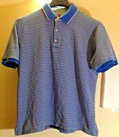 Robert Graham X Men's Short Sleeve Polo Shirt 3XL XXXL Gold & Blue Striped