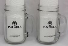 2 MASON GLASS BACARDI RUM JARS - The Sociable SPIRIT With HANDLES