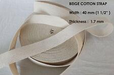 40mm natürlich dünn 1.7mm 100% Baumwolle Taschenriemen Gürtel Nähen Borte x