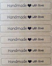 X72 Handmade With Love - Label Seal Kraft Stickers - Craft, Weddings, Homemade