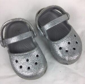 Crocs Toddler Karin Sparkle Mary Janes Girls Sandals Glitter Silver Size C5