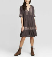 Women's Elbow Sleeve V-Neck Mini Dress - Knox Rose™ Brown M
