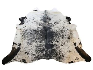 "SALT PEPPER BLACK & WHITE COWHIDE RUG    Approximately 8'2""x7'7"" - Size"