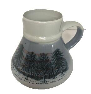 Vintage Otagiri Japan No Spill Coffee Mug~TREES/ PINE SNOW