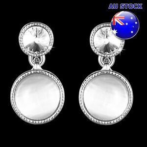 Wholesale 18K White Gold Filled Round Cat's Eye Opal Dangly Earrings