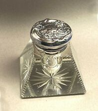 Woodside Co NY Cut Crystal & Art Nouveau Sterling Silver Inkwell Mint Condition