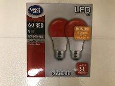 2 RED Color LED 60 Watt Equivalent 9W A19 E26 2 FOR 1 Bulbs BONUS SALE