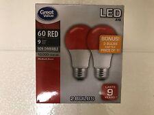2 RED Color LED 60 Watt Equivalent 9W A19 2 FOR 1 Bulbs BONUS SALE