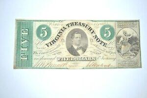Original Virginia Confederate $5 Bill Treasury Note 1862 Nice Crisp Obsolete