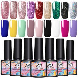 8ml MAD DOLL Nail UV Gel Polish Semi-permanent Soak off Glitter Nail Art Varnish