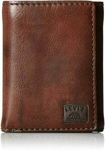 Levi's Men's Brown Stitch Trifold Faux Grain Leather Credit Card Wallet