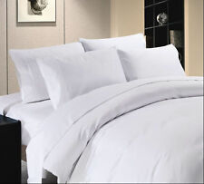 Duvet Set + Fitted Sheet Super King Size White Solid 1500 TC 100%Egyptian Cotton