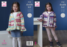 King Cole Childrens Double Knitting Pattern Girls Raglan Sleeve Cardigans 5165