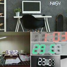3D Smart LED Digital Alarm Clock USB Home Hanging Wall Clock 12/24 Hour Display