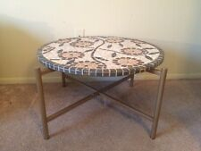 Stunning Mosaic Tile Top Round Coffee Table Mid Century Modern Style  30""