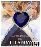Hot Large Blue Crystal White Gold Plated Heart of the OCEAN Titanic Necklace