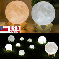 3D Printing Moon Lamp USB LED Night Light Moonlight Touch Color Changing US NEW