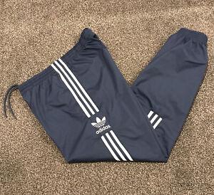Adidas Originals Tracksuit Bottoms Mens Medium Blue With White Stripes Active
