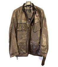 BELSTAFF Mens Panther Trialmaster Leather Jacket Dark Brown (MSRP $1,895)