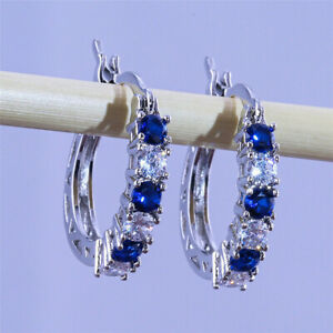 Gorgeous 925 Silver Drop Earring for Women Blue Sapphire Jewelry Gift A Pair/set