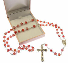 Coral pink and red floral effect glass Catholic rosary beads in gift box