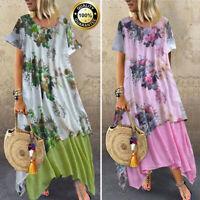 Summer Womens Boho Short Sleeve Cotton Linen Baggy Casual Kaftan Maxi Dress Plus