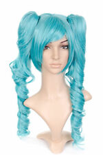 Blue Green Teal Anime Cosplay Costume Wig w/ Pigtails