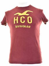 HOLLISTER Mens Graphic T-Shirt Top Small Burgundy Cotton  IE07