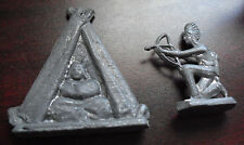 "Lot of 2 Vintage 1940s Lead Toy Soldiers Indian and Teepee 2"" Tall"
