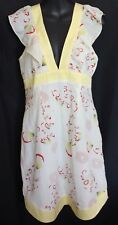 MANNING CARTEL ~ Ivory Lemon Red Green Floral Geometric Silk Dressy Sundress 12