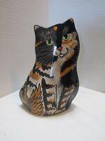 "VTG 2001 Cats by Nina Lynman Cat Vase Planter Calico Tabby Green Eyes 8"" tall"