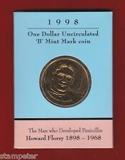 1998 Australia Howard Florey Penicillin, $1 UNC 'B' Mintmark Coin, ANDA Show